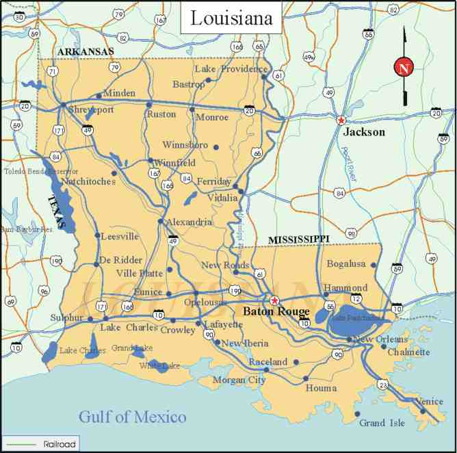 carte de la louisiane etats unis